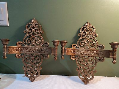 Pair of Vintage Wall Sconces Dual Candle Holders  Gold Color by DART