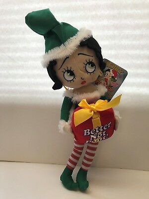 "Betty Boop 18"" BETTER NOT POUT As Santa's Elf Christmas Plush Doll Figure"