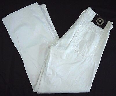 VERSACE JEANS SIGNATURE white cotton pants mens 30x30 made in ITALY unisex boot