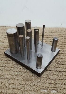 """Vtg Allied SHIM PUNCH SET 1/8 TO 3/4"""" DIA. FOR UP TO .030"""" SHIM STOCK"""