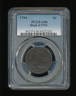 1794 Head of 1794 Flowing Hair Large Cent 1C PCGS GOOD 06 G 6 Type 4 Liberty Cap