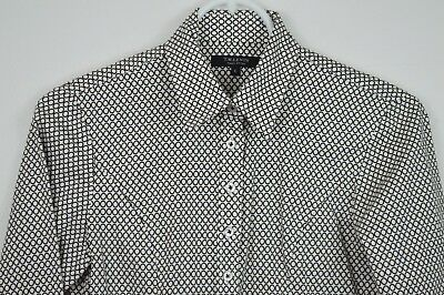 ccf85afa TM Lewin Womens Black Circle Dress Shirt Blouse Sz 6 Button Up Fully Fitted