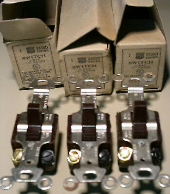 """Vintage Lot Of 3 NOS Bryant 1835D 3-Way, """"T"""" Rated Brown Wall Switches"""