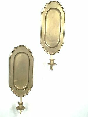 Pair Vintage Mid Century Turtle Back Brass Candle Sconces