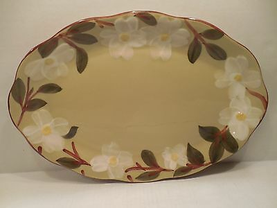 """Stangl Pottery White Dogwood Large Oval Serving Platter Plate 15"""" Hand Painted"""