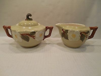 Stangl Pottery White Dogwood Sugar Bowl With Lid And Creamer Set