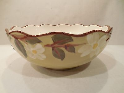 """Stangl Pottery White Dogwood Medium Round Serving Bowl 8-1/2"""" Hand Painted"""