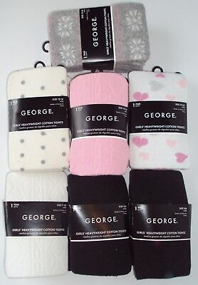 GEORGE girl tights 4-6 7-10 12-14 pink black white gray hearts dots U choose NEW