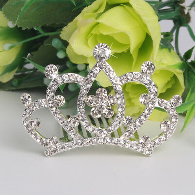 ES_ Girl Kids Rhinestone Princess Hair Clip Wedding Crown Hairpin Comb Tiara Rap