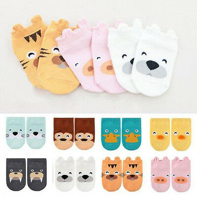 ES_ Baby Boy Girls Toddler Ankle Socks Cartoon Animal Anti Slip Cotton Socks Nov
