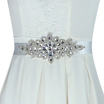 ES_ Hot Magic Bridal Sash Waist Belt with White Satin Ribbon for Wedding Dress