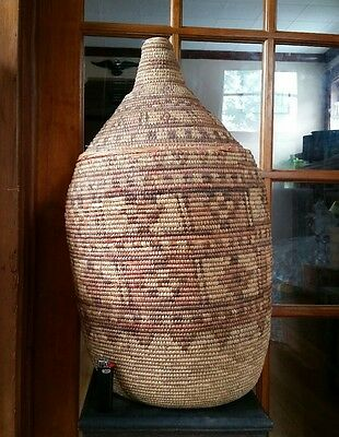 Antique Authentic African Coiled Lidded Basket Zulu ?