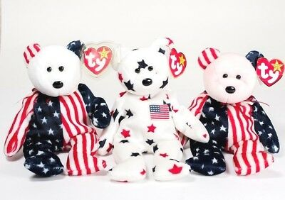 Beanie Baby Lot Of 3 Red White & Blue Spangle & Glory Pink Face Auction