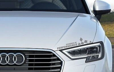 Powered By Performance Headlight Decals Vinyl Stickers Racing Logo Emblem Silver