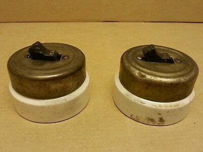 2-Vtg antique Arrow toggle light switches round-Porcelain Base-Tested -chrome