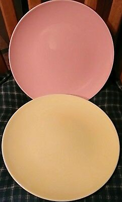 Knowles ACCENT Sunset Glaze pastel Dinnerplates yellow and pink montgomery ward