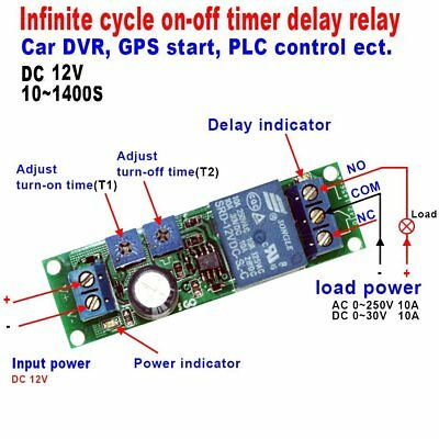 Qianson DC 5V 12V 24V Infinite Cycle Delay Timer Time Relay ON OFF Switch Loop M