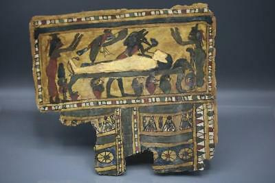 Egyptian Cartonnage Fragment with Anpu (Anubis) and other deities, C. 664-332BC.