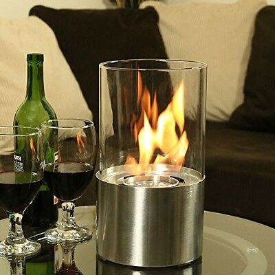 Fireplace Tabletop portable Bio Ethanol tempered glass cylinder Stainless Steel