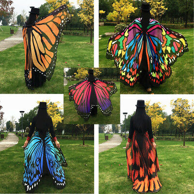 ES_ Butterfly Wing Beach Towel Cape Scarf for Women Christmas Halloween Gift Bea