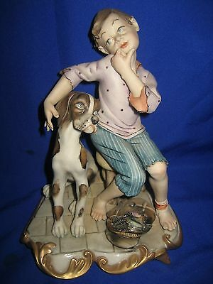 Capodimonte Boy  With Dog  Figure Signed By Volta
