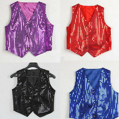 ES_ Boys Girls Sequined Vest Waistcoat Dance Party Show Costumes dance wear Chea