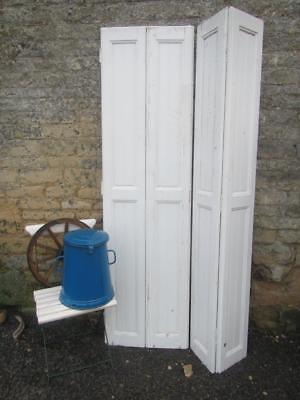 VINTAGE WOODEN SHUTTERS FRENCH FOLDING BI  FOLD 202cm tall RECLAIM CLADDING