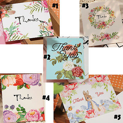 10Pcs THANK YOU Cards With Cute Bunny & Flower For Celebration Party  Wedding