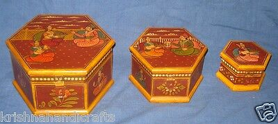Vintage Look Fine Hand Made King & Queen Painted Wooden Boxes Set Of 3 Pcs