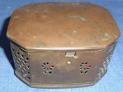 Vintage Old Collectible Brass Jali Cutting Mack Up Trinket Box With Back Mirror