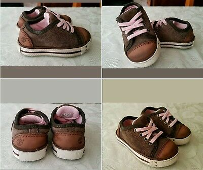 Timberland baby girls trainers, shoes. Brown suede leather, Size infant 4