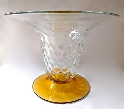 Blenko Glass Quilted Diamond Optic Vase w/.Wide Flared Rim