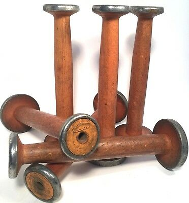 Bobbins Lg Wooden Textile Primitive Antique Orange Accent Spools Quills Lot of 6
