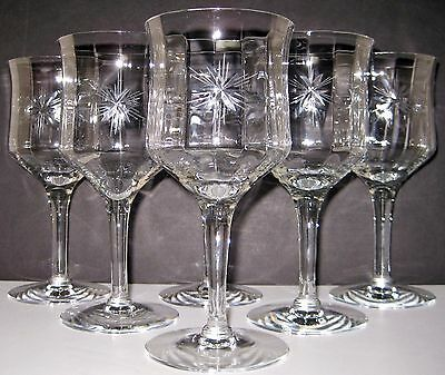 """6 Tiffin 14188 Six Point Star Cut Glass 10 Oz. Water Goblet 6 3/4"""" Optic Paneled"""