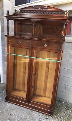 Victorian Walnut And Burl 2 Door Bookcase