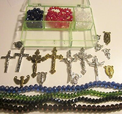 Best Rosary Making Kit: Mixed Beads, Box, Crucifixes, Center Pieces  #10-26-5g