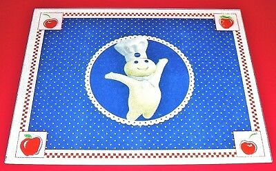 "NEW Pillsbury Doughboy Glass Cutting Board 12"" x 15"" Red White Blue w Apples"