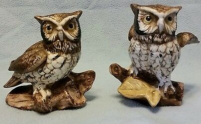 HOMCO Owls On A Log Figurines Vintage Ceramic Homco #1114 in great condition.