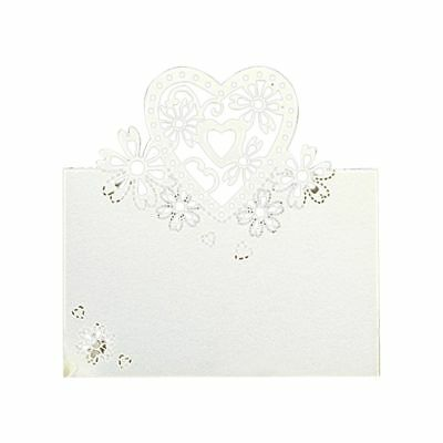 60 Pcs white wedding party pearlescent love hearts place cards table name B1X1