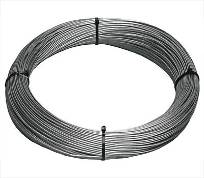 """T-304 Grade 7 x 7 Stainless Steel Cable Wire Rope 1/8""""- 100ft"""