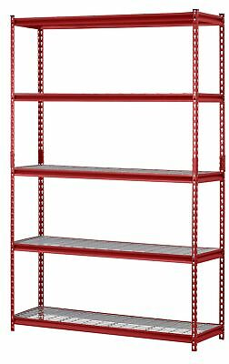 Strong Durable Red Muscle Rack 5-Shelf Steel Adjustable Shelving Storage Unit