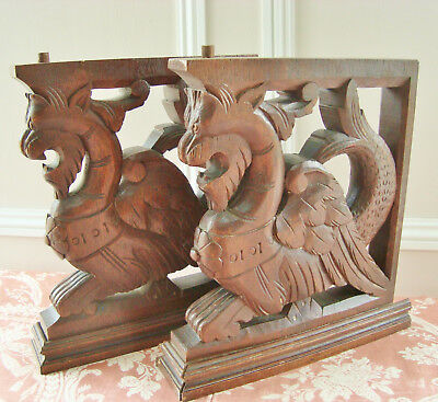 Rare Pair Winged Dragon Pediments Carved Wood Griffins Mythological Creatures