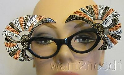 vtg Fabulous French jeweled carved PEACOCK EYEGLASS FRAMES new/old carved