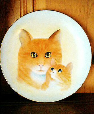 "Retro 8.5"" Hand Painted Decorative Cat Kitten Plate Orange Tabby Signed Vintage"