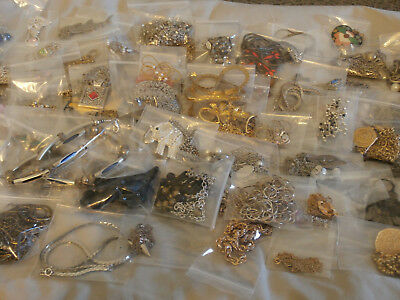 Huge Vintage Estate Lot of 75 Necklaces Chains and Rhinestone Pendants 3 1/3 LBS