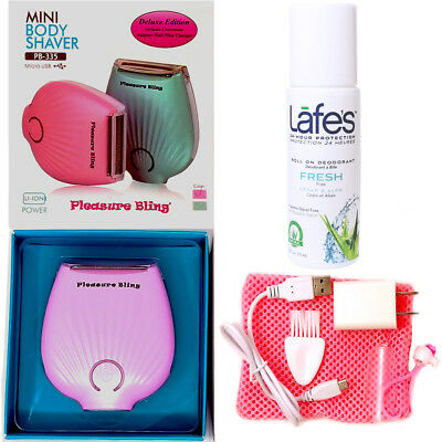 Deluxe Wet-Dry USB Rechargeable Lady Shaver with Lafes Fresh Roll On Deodorant