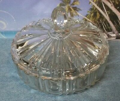 Vintage Crystal Glass Candy Dish with Lid