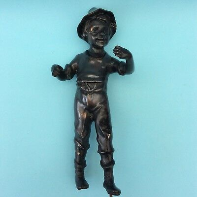 ANTIQUE VINTAGE COPPERED SPELTER BOY FIGURINE For Restoration Upcycling AS IS