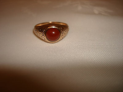 Vintage Very Old Engraved 10 Karat Solid Gold Stone Signet Pinky Ring Size 9.75