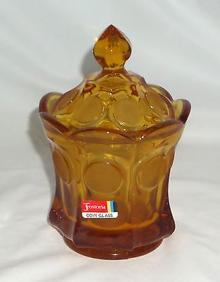 "Fostoria COIN FROSTED AMBER * 6 1/2"" CANDY w/COVER & STICKER*"